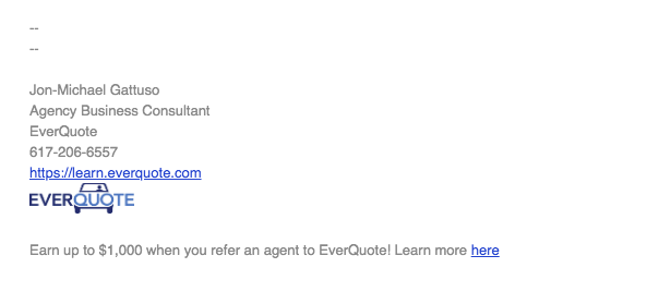 Example of an email signature with referral link - EverQuote
